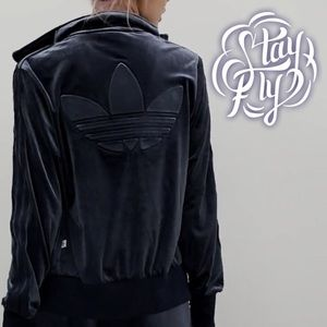 Adidas Firebird Velvet Navy Trefoil Track Jacket L